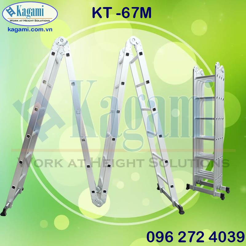 Cấu tạo thang nhôm gấp xếp 4 đoạn chữ M chân thanh ngang 6m7 Kagami KT -67M Nhật Bản