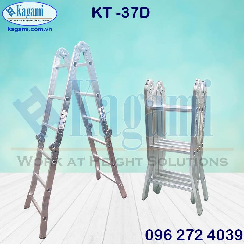 Tổng đại lý thang nhôm gấp xếp gọn 4 đoạn chữ M 3m7 chân duỗi Kagami KT -37D tại TP. Hồ Chí Minh