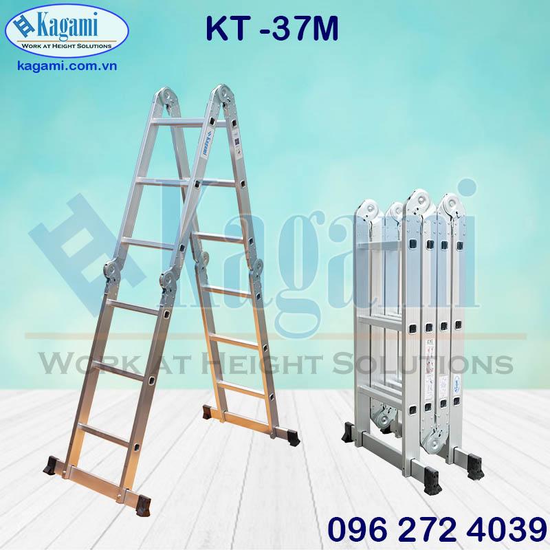 Đại lý phân phối thang nhôm gấp xếp 4 đoạn chữ M 3m7 Kagami KT -37M tại TP. Hồ Chí Minh