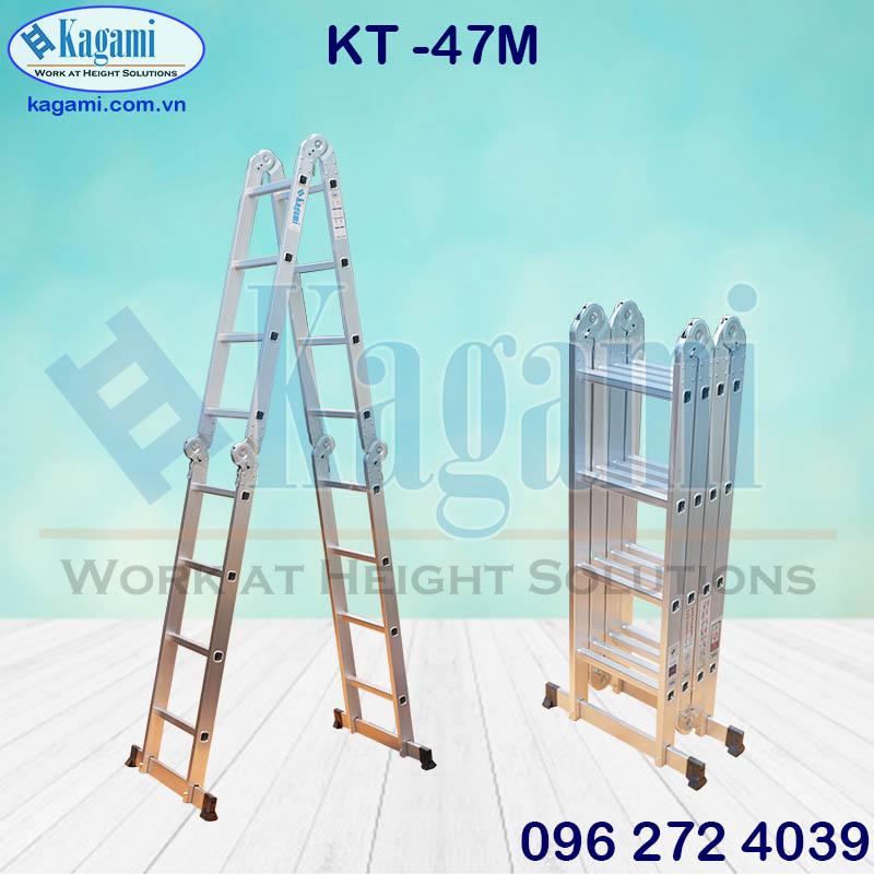 Đại lý phân phối thang nhôm gấp xếp chữ M 4m7 Kagami 4 đoạn KT -47M giá tốt tai TP. Hồ Chí Minh