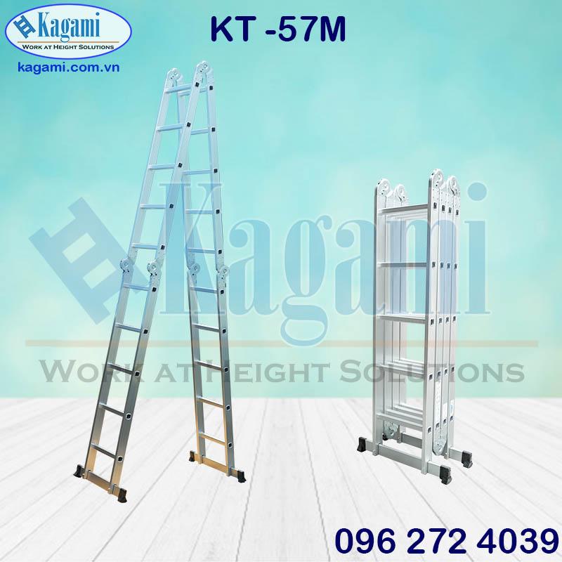 Đại lý thang nhôm gấp xếp 4 đoạn 5m7 Kagami Nhật Bản chữ M KT -57M đa năng giá tốt chính hãng