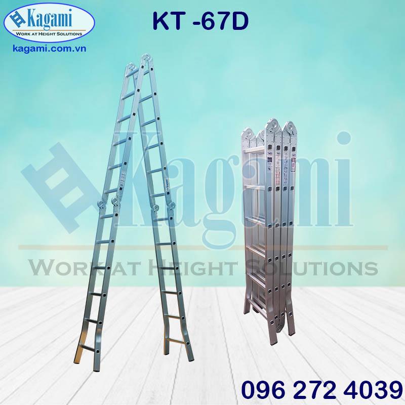 Đại lý thang nhôm gấp xếp 4 đoạn chữ M chân duỗi 6m7 Kagami Nhật Bản KT -67D giá tốt chính hãng