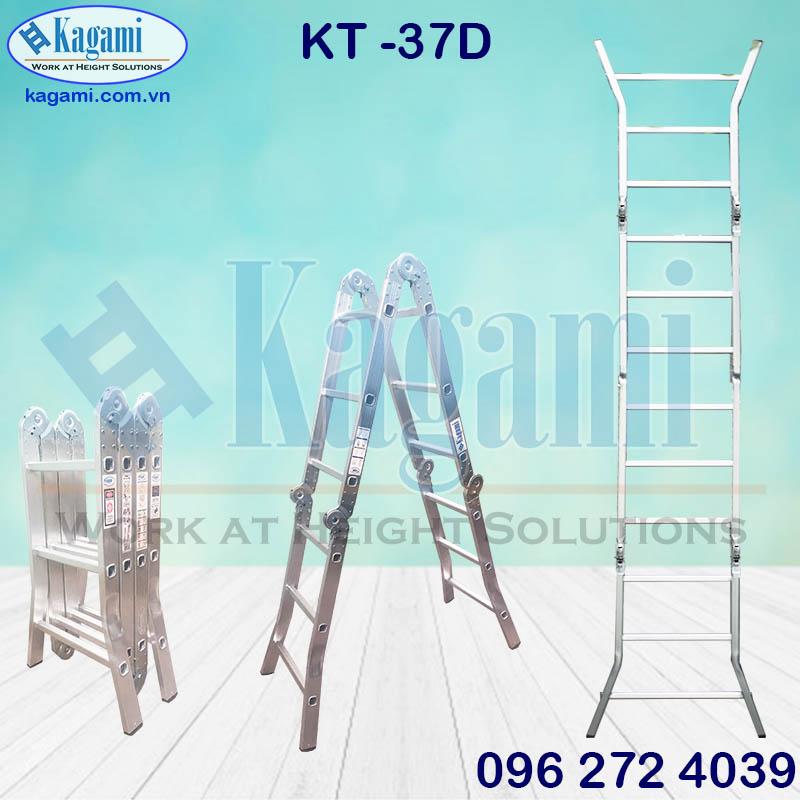 Tổng quan thang nhôm gấp xếp gọn 4 đoạn chữ M chân duỗi cao 3m7 Kagami Nhật Bản KT -37D