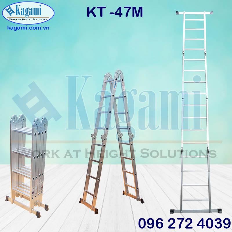 Tổng đại lý thang nhôm gấp xếp 4 đoạn 4m7 chữ M chân thanh ngang Kagami Nhật Bản KT -47M tại các tỉnh
