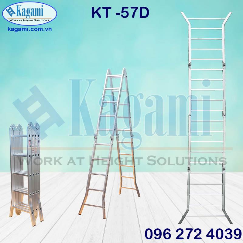 Khu vực phân phối thang nhôm gấp đa năng 4 đoạn chân duỗi Kagami KT -57D 5m7 chính hãng