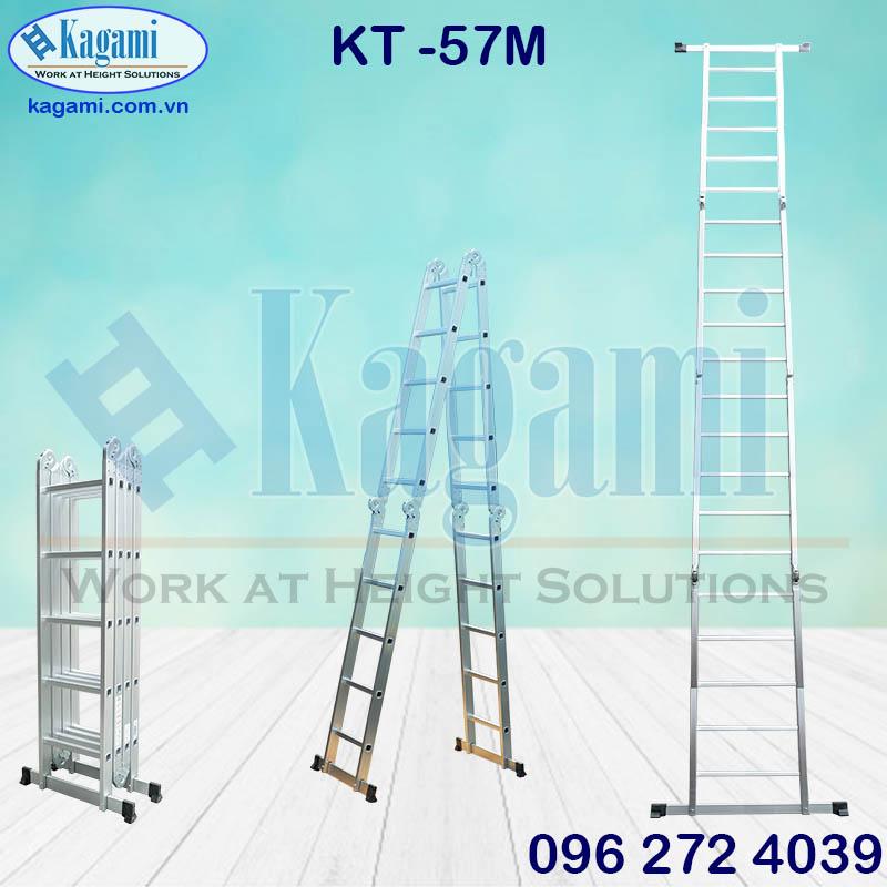 Đại lý phân phối thang nhôm gấp xếp chữ M 5m7 4 đoạn Kagami KT -57M tại Tp. Hồ Chí Minh