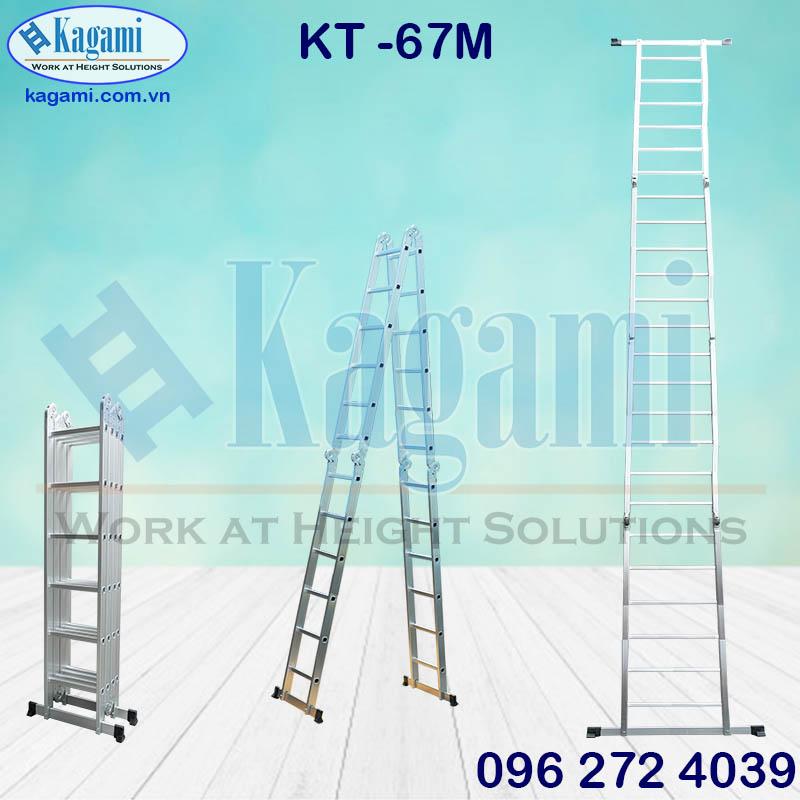 Đại lý thang nhôm gấp xếp 4 đoạn chữ M 6m7 Kagami KT -67M đa năng chân thanh ngang chính hãng giá tốt